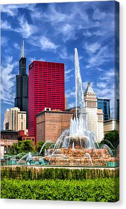 Buckingham Fountain Sears Tower Canvas Print by Christopher Arndt