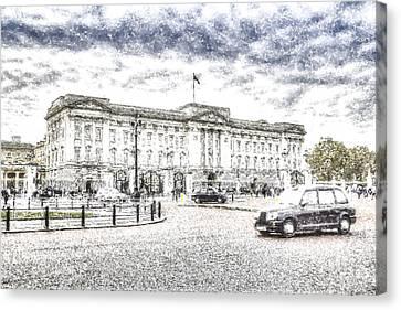 Buckingham Palace Snow Canvas Print by David Pyatt