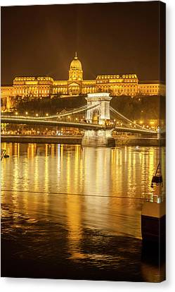 Buda Castle Chain Bridge Nightscape Canvas Print by Tom Norring