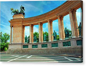 Budapest, Hungary, Heroes' Square Canvas Print by Miva Stock