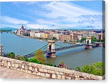 Budapest, Hungary, Scenic View Canvas Print by Miva Stock