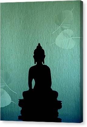 Buddha And Bodhi Leaves Canvas Print by Niteen Kasle