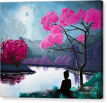 Buddha By The Lake Canvas Print by Mindah-Lee Kumar