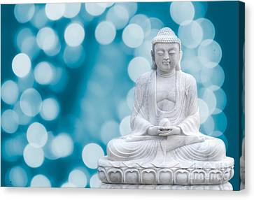 Buddha Enlightenment Blue Canvas Print by Hannes Cmarits