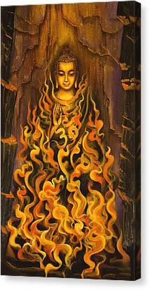 Buddha. Fire Of Meditation Canvas Print by Vrindavan Das