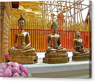 Buddha Images At Wat Phrathat Doi Sutep In Chiang Mai-thailand Canvas Print by Ruth Hager