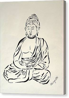 Buddha In Black And White Canvas Print by Pamela Allegretto