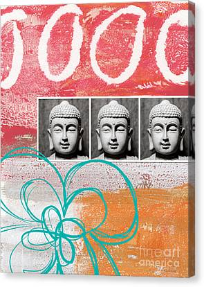 Buddha With Flower Canvas Print by Linda Woods