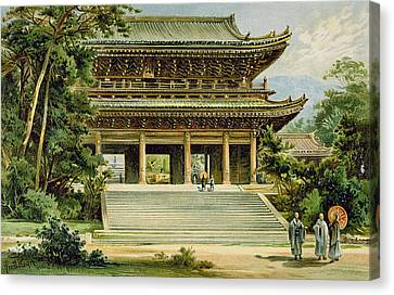 Buddhist Temple At Kyoto, Japan Canvas Print by Ernst Heyn