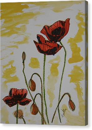 Budding Poppies Canvas Print by Marcia Weller-Wenbert