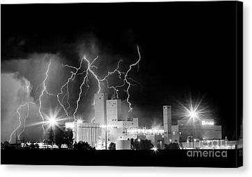 Budweiser Lightning Thunderstorm Moving Out Bw Pano Canvas Print by James BO  Insogna
