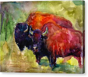 Buffalo Bisons Painting Canvas Print by Svetlana Novikova