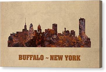 Buffalo New York City Skyline Rusty Metal Shape On Canvas Canvas Print by Design Turnpike