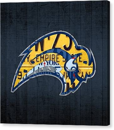 Buffalo Sabres Hockey Team Retro Logo Vintage Recycled New York License Plate Art Canvas Print by Design Turnpike