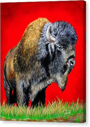 Buffalo Warrior Canvas Print by Teshia Art