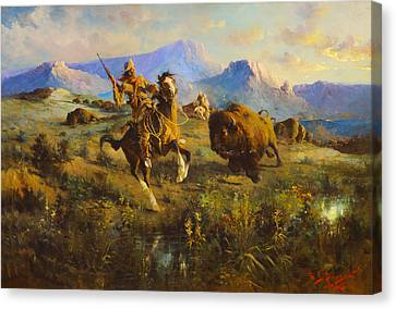 Buffalo Hunt Canvas Print by Edgar Samuel Paxson