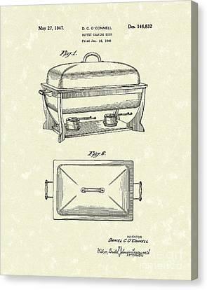 Buffet Dish 1947 Patent Art Canvas Print by Prior Art Design