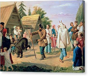 Buffoons In A Village Canvas Print by Francois Nicholas Riss