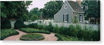 Building In A Garden, Williamsburg Canvas Print by Panoramic Images