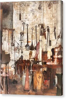 Building Trades - Hand Tools In Machine Shop Canvas Print by Susan Savad