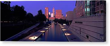 Buildings Along A Canal, Indiana Canvas Print by Panoramic Images