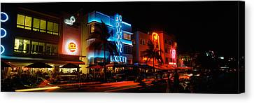 Buildings At The Roadside, Ocean Drive Canvas Print by Panoramic Images