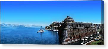 Buildings At The Waterfront, Corfu Canvas Print by Panoramic Images