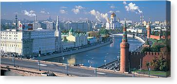Buildings At The Waterfront, Moskva Canvas Print by Panoramic Images