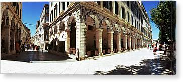 Buildings In A City, Corfu, Ionian Canvas Print by Panoramic Images