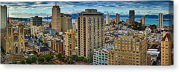 Buildings In A City Looking Canvas Print by Panoramic Images