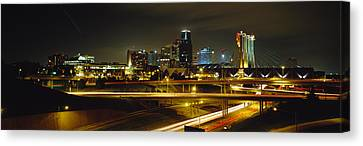Buildings Lit Up At Night, Kansas City Canvas Print by Panoramic Images