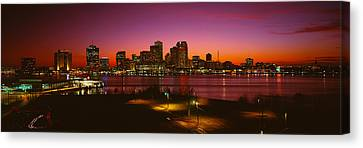 Buildings Lit Up At Night, New Orleans Canvas Print by Panoramic Images
