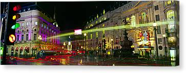 Buildings Lit Up At Night, Piccadilly Canvas Print by Panoramic Images