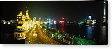 Buildings Lit Up At Night, The Bund Canvas Print by Panoramic Images