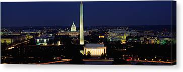 Buildings Lit Up At Night, Washington Canvas Print by Panoramic Images