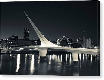 Buildings With A Footbridge Canvas Print by Panoramic Images