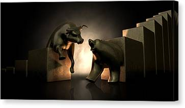 Bull And Bear Market Statues Canvas Print by Allan Swart