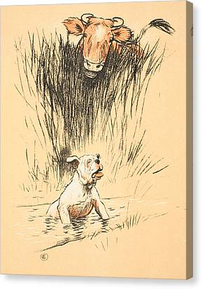 Bull And Dog In Field Canvas Print by Cecil Charles Windsor Aldin