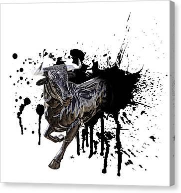 Bull Breakout Canvas Print by Daniel Hagerman
