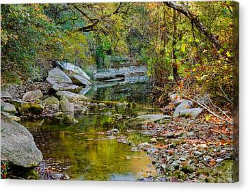 Bull Creek In The Fall Canvas Print by Mark Weaver