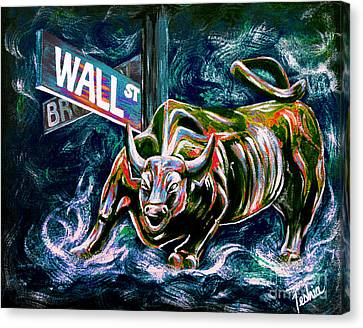 Bull Market Night Canvas Print by Teshia Art