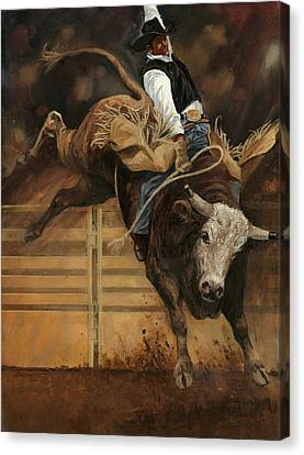 Bull Riding 1 Canvas Print by Don  Langeneckert