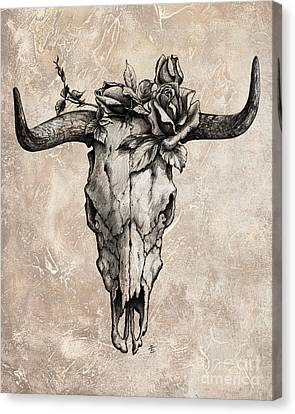 Bull Skull And Rose Canvas Print by Emerico Imre Toth