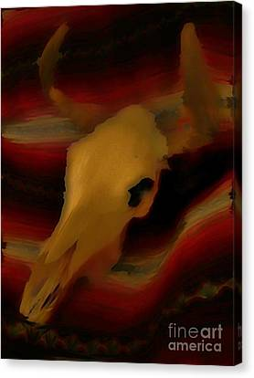 Bull Skull One Canvas Print by John Mlaone