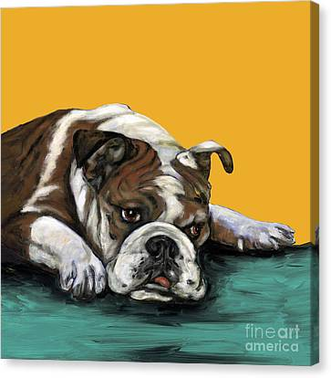 Bulldog On Yellow Canvas Print by Dale Moses