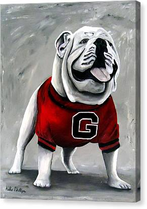 University Of Georgia Bulldog Painting - Damn Good Dawg Canvas Print by Katie Phillips