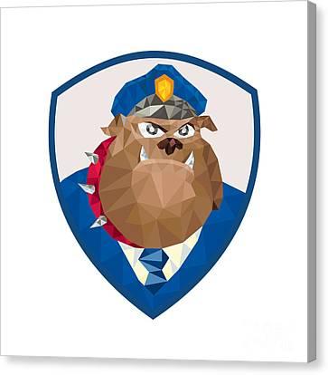 Bulldog Policeman Shield Low Polygon Canvas Print by Aloysius Patrimonio