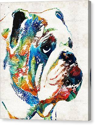 Bulldog Pop Art - How Bout A Kiss - By Sharon Cummings Canvas Print by Sharon Cummings