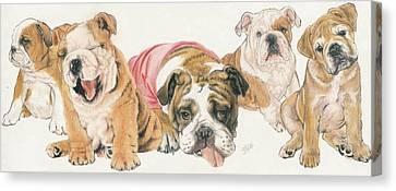 Bulldog Puppies Canvas Print by Barbara Keith