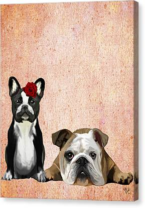 Bulldogs French And English Canvas Print by Kelly McLaughlan